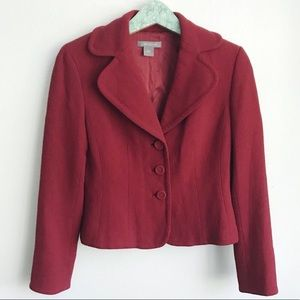 Ann Taylor Red Blazer Jacket Long Sleeves Size 2